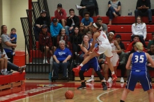 Tori Handley, 10 guarding the inbound possession.