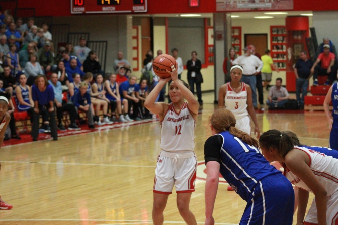 Jacinta Gibson, 11 attempting a free throw in the 4th quarter.