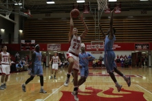 Gerrin Moore, 11, goes for the layup.