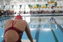Rachel Walker awaits the beginning of the 200 yard freestyle.
