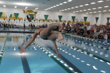 Rachel Walker dives in the water for the 400 yard meter relay.
