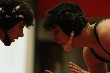 Senior Jack Ferraro goes face to face with his opponent.
