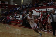 Gabe Gallahar drives into the paint.