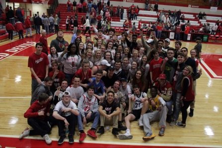 The Jeffersonville student section and cheerleaders after the 19 point win.