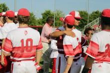 Seniors hugging their teammates.