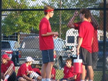 Coach Nathan Cross talks to Senior Trey Bottorff and Junior Colby Kayrouz