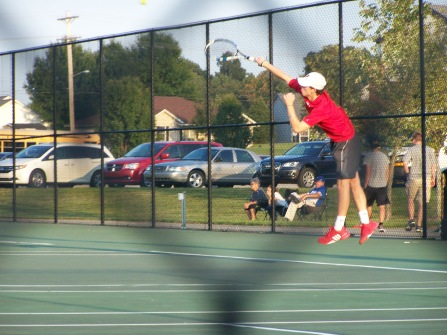 Trey Bottorff serves game point at Jasper Tournament