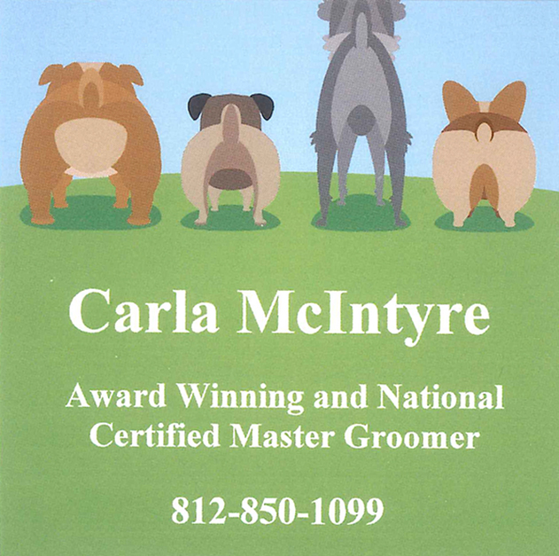 Award Winning and National Certified Master Groomer Carla McIntyre 812-850-1099